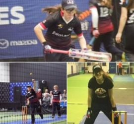 Chloe playing indoor Cricket for England under 17s