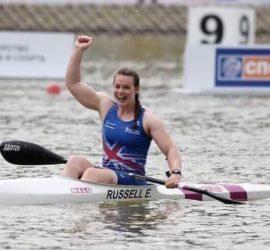 Emma winning canoeing event