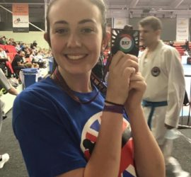 Becca with her British Karate bronze medal