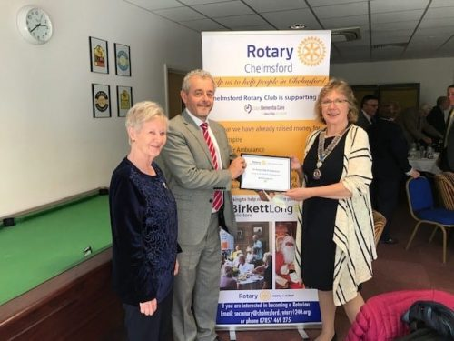 The photo shows Anne and fellow Rotarian, Jenny Black, with David