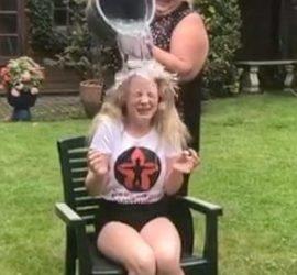 Aimee doing Ice Bucket Challenge