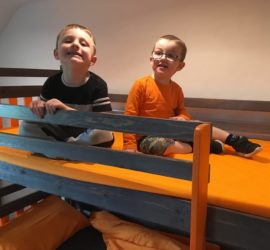 Edward and his brother on the bunk bed