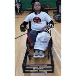 Ismail with his strike force sports wheelchair