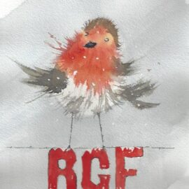 Christmas Card, Cheeky Robin